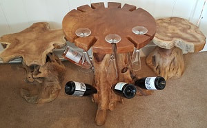driftwood wine rack table and driftwood stools