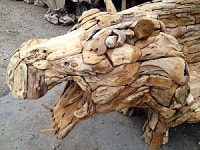 head view of driftwood hippo bench