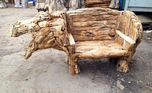 very unique driftwood hippo bench
