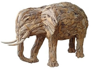 medium size driftwood elephant