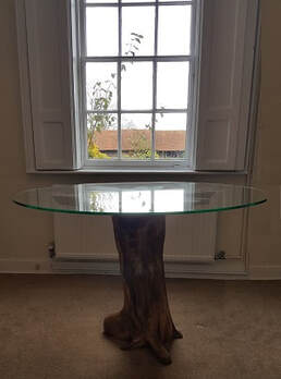 beautiful driftwood dining table with round glass top