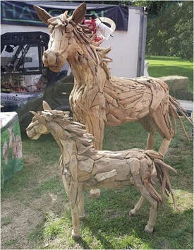 Driftwood full-size horse and driftwood small horse