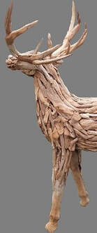 side view of driftwood stag