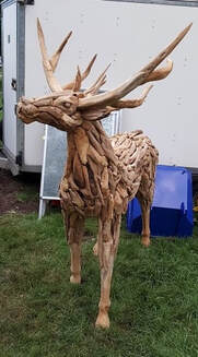 side view of large driftwood stag